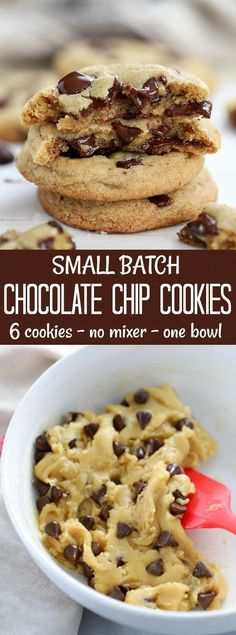 quick and easy Small Batch Chocolate Chip Cookie recipe. Six cookies, made in A quick and easy Small Batch Chocolate Chip Cookie recipe. Six cookies, made in . -A quick and easy Small Batch Chocolate Chip Cookie recipe. Six cookies, made in . Small Desserts, Quick Easy Desserts, Easy Cookie Recipes, Sweets Recipes, Baking Recipes, Quick And Easy Recipes, Quick Dessert Recipes, Yummy Recipes, Small Batch Chocolate Chip Cookie Recipe