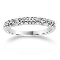 1/4 Ct Round Cut D/VVS1 10K White Solid Gold Wedding & Anniversary Band by JewelryHub on Opensky