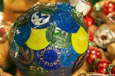 Ornament with blue and green wine foil tops by LilRedsTreasures, $38.00