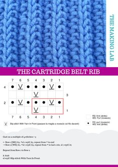How to easily knit the cartridge belt rib, an easy and nice rib stitch. Knitting Stiches, Knitting Videos, Free Knitting, Baby Knitting, Crochet Motifs, Crochet Mittens, Knitted Hats, Knit Crochet, Stitch Patterns