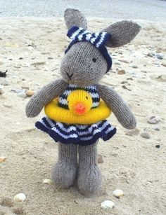 Bunty Bunny Rabbit Goes Swimming By Debi Birkin - Purchased Knitted Pattern - (ravelry)