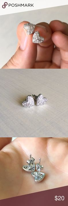 SALE! Cubic Zirconia Sterling Silver Stud Earrings Heart Cubic Zirconia 925 Sterling Silver Stud Earrings. NWOT, never used. Perfect condition.❤️ Jewelry Earrings