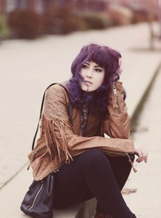 Maze leather jacket, brown leather jacket, Fall Style, Fall Fashion, Autumn Outfit, Herbstlook, purple hair, Fashion Blog