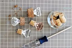 Make your own wine bottle stoppers! With pretty perfume caps & Cork #DIY #Wine