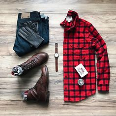 Buffalo Plaid, Denim, & Boots.  The classic style that never goes away...from @lahmansbeard    Follow @runnineverlong on Instagram for more inspiration