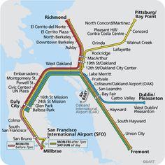 "#BART System Map, San Francisco. As early as 1911, visionaries considered a ""Jules Verne"" concept of building an underwater tube across San Francisco Bay. But in 1946, the idea of BART started turning this vision into a reality."