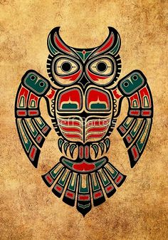 'Red and Teal Blue Haida Spirit Owl' Art Print by jeff bartels Native American Totem, Native American Artwork, Native American Symbols, American Indian Art, Native American Design, Haida Tattoo, Totem Tattoo, Inca Tattoo, Tattoo Ink