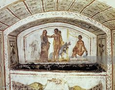 Stock Photo : Alcestis in front of Hercules and Cerberus, fresco, Via Latina Catacomb, Rome, Italy, 4th century