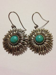 Turquoise Sterling Sunflower Earrings 70s Silver Flowers Floral 925 Blue Vintage Genuine Stones Tribal Southwestern Boho Country Jewelry on Etsy, $35.00