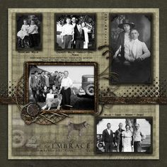 Embrace the Past ~ traditionally designed heritage page with lovely embellishments. Heritage Scrapbook Pages, Vintage Scrapbook, Wedding Scrapbook, Scrapbook Page Layouts, Scrapbook Paper Crafts, Scrapbook Cards, Scrapbook Templates, Family History Book, The Embrace