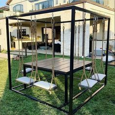 [New] The 10 Best Home Decor Ideas Today (with Pictures) - We love this custom swing table! with Custom swing table Yay or Nay? By Stylehousela Swing Table, Porch Swing, Diy Swing, Decor Interior Design, Interior Decorating, Decorating Ideas, Outdoor Tables, Outdoor Decor, Woodworking Plans