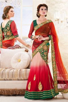 Net Red, Cream, Green Designer Party Wear Saree