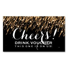 Elegant Drink Voucher Falling Stars Gold Business Card Template Make Your Own With