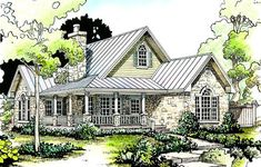 This is my favorite. I would love to add a few feet to the left side of the house - I am unsure if that can be done. But it is really great and I love the exterior. Front elevation of Cottage home (ThePlanCollection: House Plan #192-1047)
