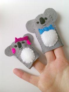 Kate Stephenson Illustration- handmade felt koala finger puppets!