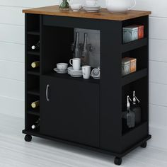 Charlton Home Worcester Kitchen Cart with Wood Top & Reviews | Wayfair