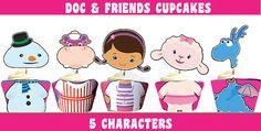 Doc McStuffins Cupcake Toppers & Wrappers, Doc McStuffins Party - Instant Download