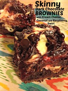 Skinny Brownies with Coconut, Cream Cheese and Raspberry Swirl