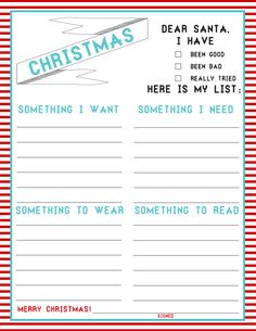 We don't do Santa but i like the Christmas List - 4 things!