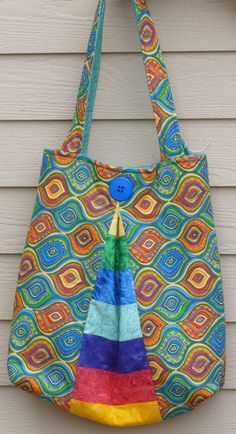 BAG MULTICOLORED PLEATED Lined in a light by DonnaleesTreasures