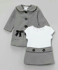 Loving this Gerson & Gerson Black Houndstooth Bow Peacoat & Dress - Infant, Toddler & Girls on Little Girl Outfits, Little Girl Fashion, Baby Outfits, Toddler Fashion, Fashion Kids, Fashion Sale, Fashion Fashion, Toddler Girl Dresses, Toddler Outfits