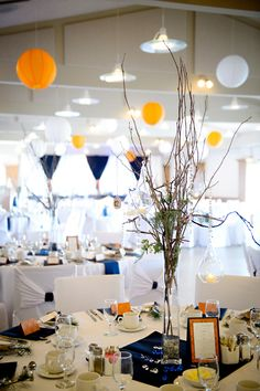Orange & Shades of Blue Country Club Wedding Shades Of Blue, Orange Shades, Orange Wedding Colors, Country Club Wedding, Table Decorations, Photography, Wedding Ideas, Yellow, Home Decor