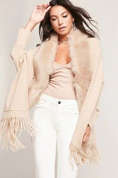 Product Name:May Logan Faux Fur Trim Poncho, Category:CLEARANCE_ZERO, Price:58