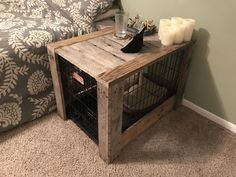 Pallet wood dog crate nightstand
