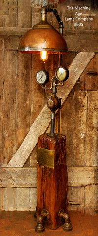 Steampunk Lamp, Antique Steam Gauge and Barn Wood Base #605