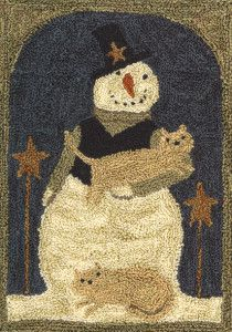Snowman with Cats by Teresa Kogut Punch Needle Pattern x Weaver's Cloth and Paper Pattern for tracing included Uses a 3 strand needle Hook Punch, Weavers Cloth, Rug Hooking Patterns, Rug Patterns, Punch Needle Patterns, Latch Hook Rugs, Penny Rugs, Wool Applique, Punch Art