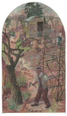 """""""The Woodcutter and the Bees"""" by Evelyn Dunbar, 1933. A design for a mural panel at the Brockley County School for Boys, which was never used."""