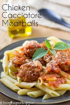 Chicken Cacciatore Meatballs topped on pasta is a hearty weeknight dinner recipe Kfc Fried Chicken Recipe, Chicken Lunch Recipes, Cheap Chicken Recipes, Soup Recipes, Dinner Recipes, Meatball Recipes, Chicken Meals, Turkey Recipes, Italian Chicken Cacciatore