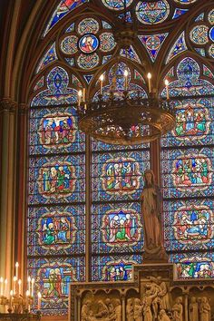 Stained Glass Window at Notre Dame Cathedral in Paris