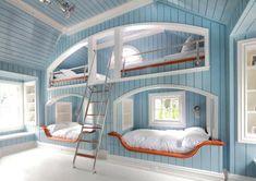 Neil Landino Cool Bunk Beds Built In Bunks Awesome Bedrooms Modern Bunk Beds, Cool Bunk Beds, Kids Bunk Beds, Tween Beds, Lofted Beds, Dream Rooms, Dream Bedroom, Girls Bedroom, Bedroom Bed