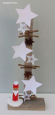 Bricolage enfant Noël. Etoiles en papier recouvertes de sucre sur un support bois, Père Noël sur une rondelle d'ouate confectionné avec un demi batonnet de glace. www.toutpetitrien.ch/bricos/ - fleurysylvie