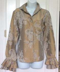 Romeo Gigli Gold Floral Embossed Long Sleeve Ruffle Blouse Sz. L (46) #RomeoGigli #Blouse #Casual