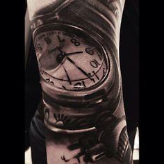 Tattoo by Remigijus Cizauskas at Remis Tattoo pocket watch Watch Tattoos, 3d Tattoos, Time Tattoos, Body Art Tattoos, Sleeve Tattoos, Cool Tattoos, Custom Tattoo, Black And Grey Tattoos, Pocket Watch