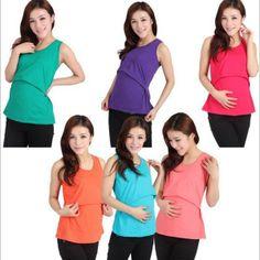 1 New Women Pregnant  Maternity Nursing Feeding  Summer Cotton Halter  Vest Top  #XHJ #Maternity