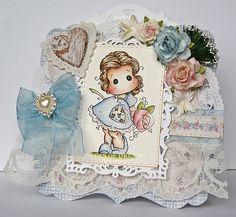 "Magnolia ""Tilda with Big Rose""- Handmade Boxed Card by Chris   eBay"