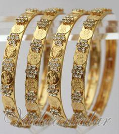 4 Bangles Traditional Indian Gold Plated Lakshmi Coin Kasu Valaiyal Bracelet Bracelets