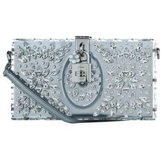 Dolce & Gabbana Embellished Plexiglass Box Clutch ($3,055) ❤ liked on Polyvore featuring bags, handbags, clutches, glitter handbag, box clutch, party handbags, blue purse and dolce gabbana handbags