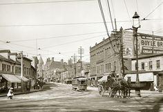 "Malden, Massachusetts, 1908 Photo, Horse Carts, Cable Cars, Vintage View, 16""x11"