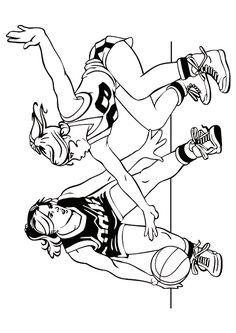 Dessin à colorier de deux joueuses adverses de Basketball en plein matche