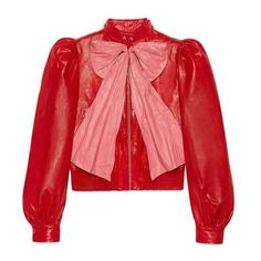 Gucci Leather Jacket With Bow ❤ liked on Polyvore featuring outerwear, jackets, puff sleeve leather jacket, leather jackets, 100 leather jacket, gucci and real leather jackets