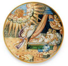 A MAIOLICA ISTORIATO PLATE, URBINO OR VENICE, MID 16TH CENTURY.