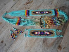 Guatemalan Hand Beaded Necklace set - Tropic Teal
