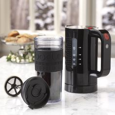 Bistro Kettle and Acrylic Travel Coffee Press Gift Pack by Bodum® - This would be SO much better then those in-room/hotel coffee/sludge makers!!