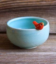 (via Etsy Transaction - Sweet Little Red Bird on an Aqua Bowl - Handmade Pottery)