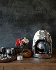 smitten with this coffee set up // like the mix of sleek and new with scuffed and old-fashioned