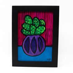 Happy Cactus Painting - Succulent Art - Small Painting in Frame - - Purple Magenta Blue Green - Colorful Art & Decor by Claudine Intner - Magenta, Purple, Blue Green, Cactus Painting, Handmade Stamps, Striped Background, Botanical Flowers, Small Paintings, Paint Markers